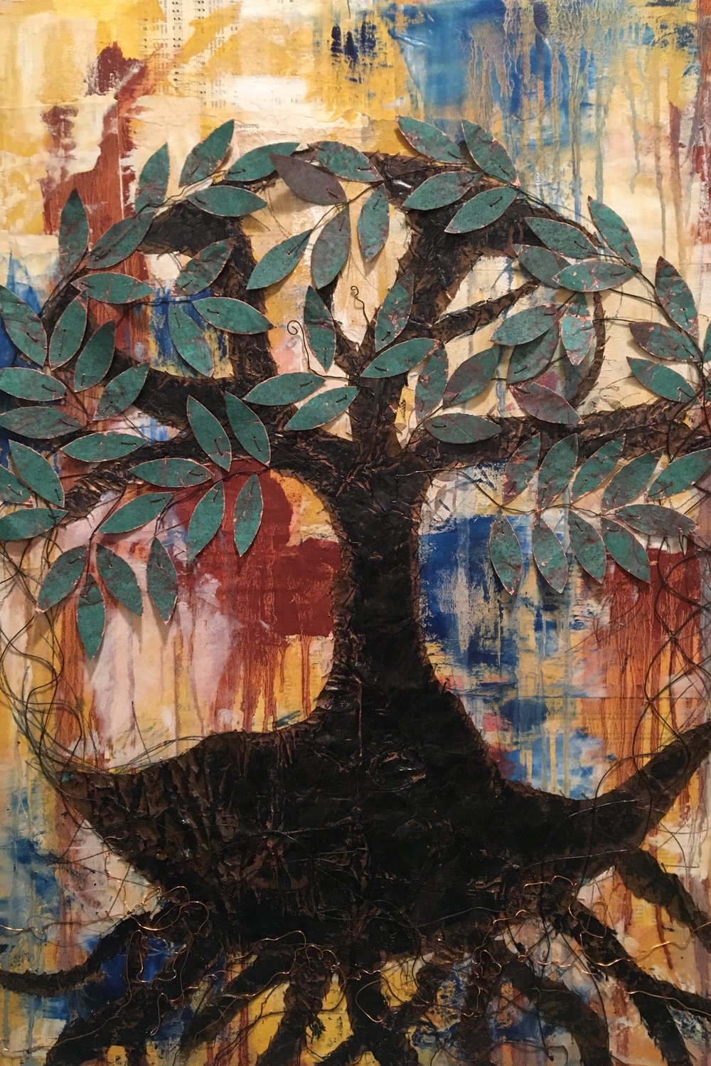 Celtic Tree Of Life 24x36 Sewn Copper on Canvas Available