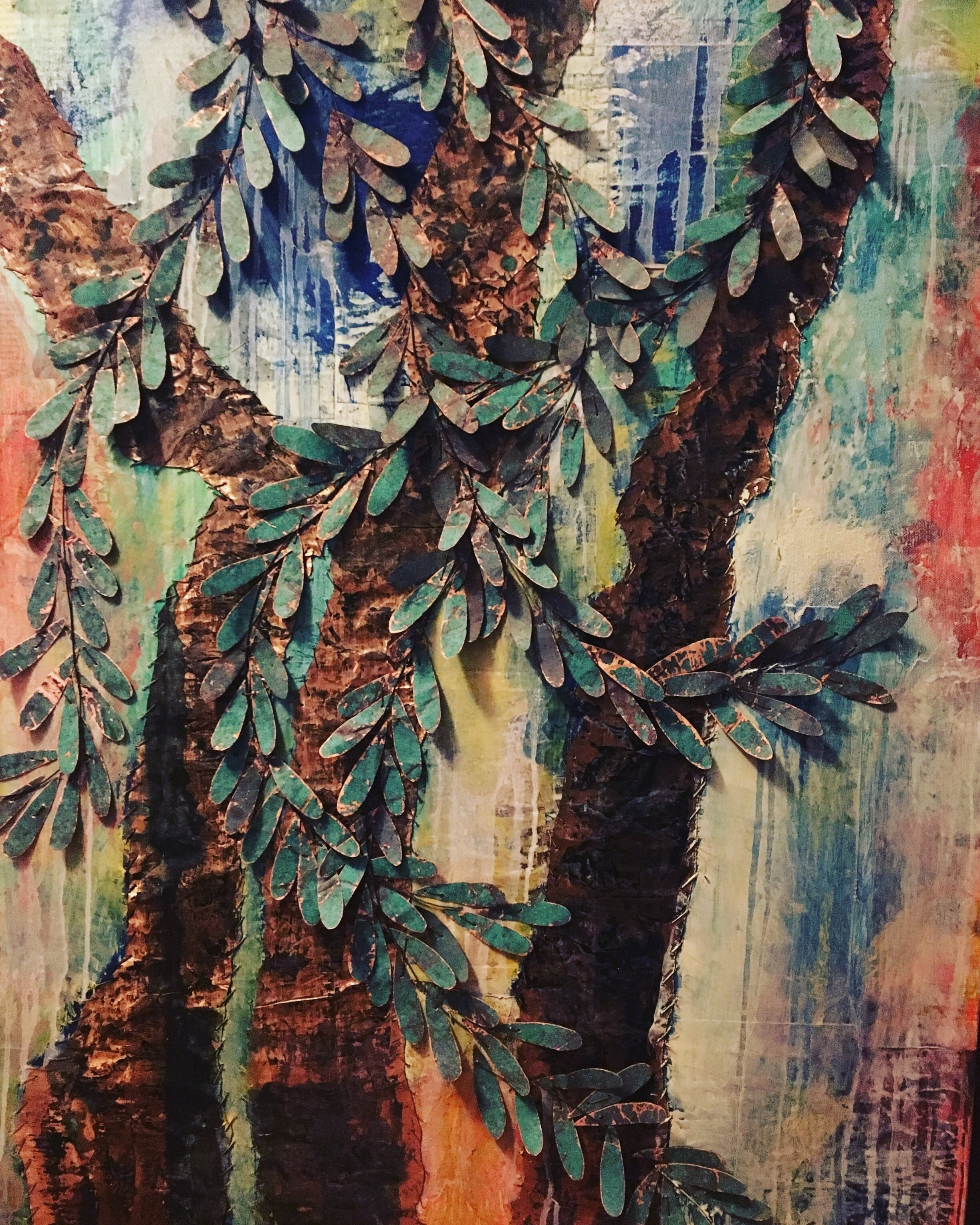 Original tuscan olive tree 24x36 sewn copper on canvas private collection