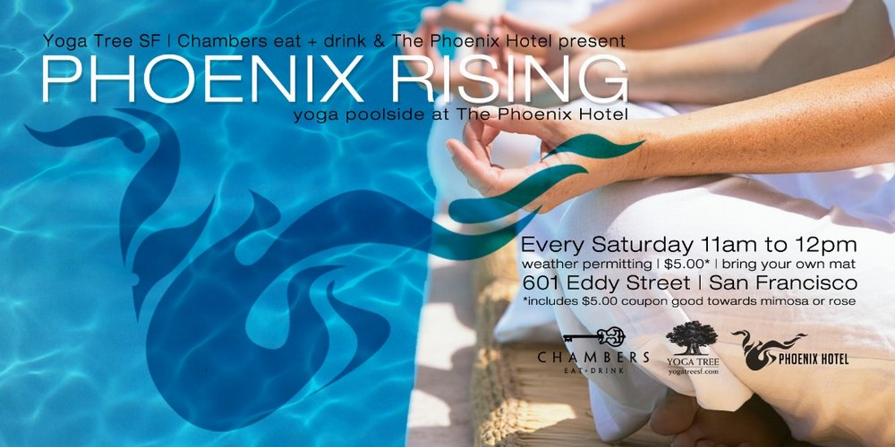 Join me for 'Phoenix Rising' a yoga/pool party/brunch series hosted at the Phoenix Hotel in San Francisco! Classes will be every Saturday from 11-12am for only $5 for yoga, or $10 includes a rose or mimosa! BYO yoga mat, towel and smile! Register HERE  *Space is limited*