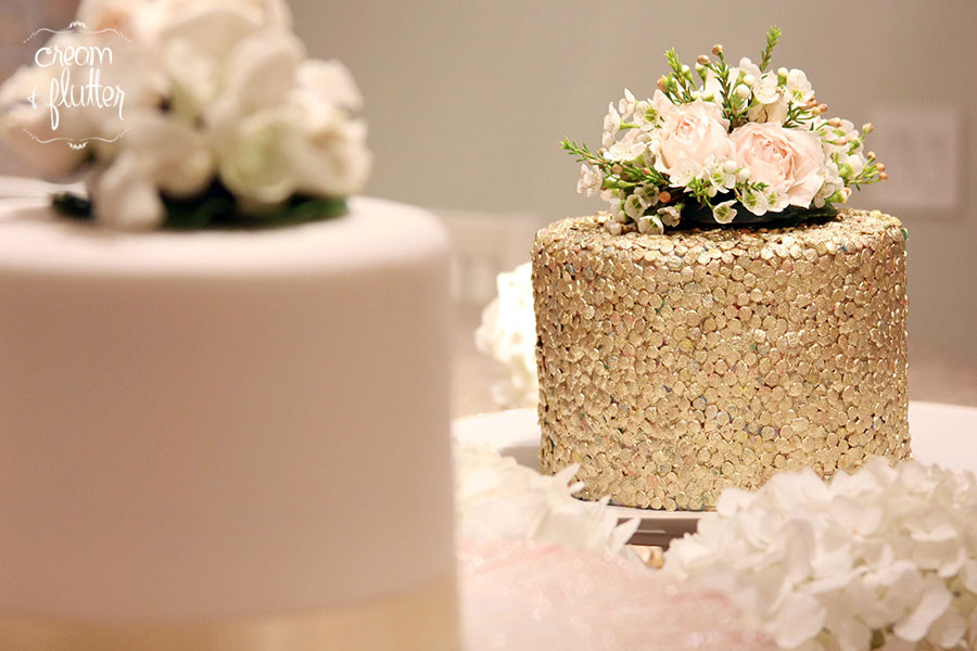 Fondant and Sequin Cut Cake