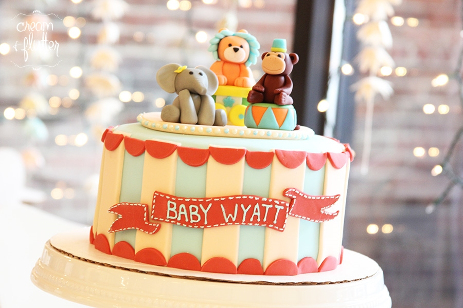 Circus Animal Baby Shower Cake