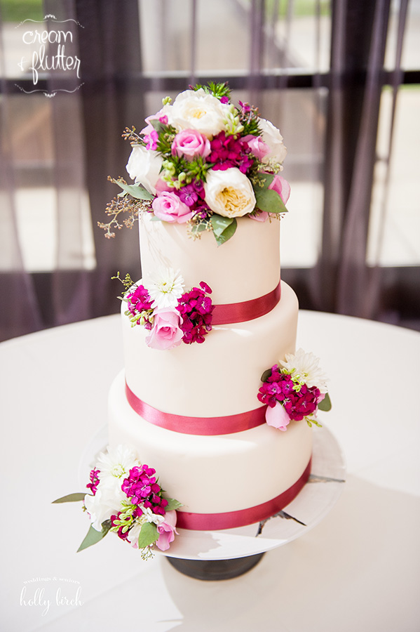Fondant Tiers with Ribbon and Flowers