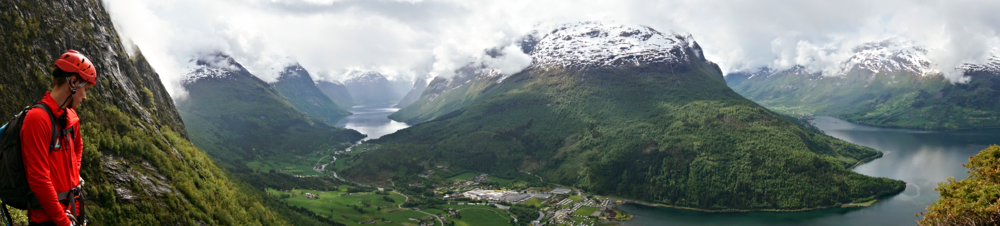 Our Via Ferrata climbing guide looking at the view in Loen, Nordfjord.