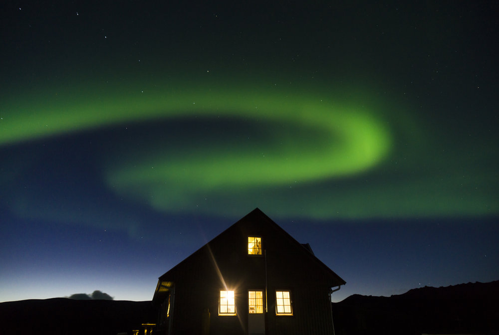 Aurora Borealis at Álftavatn mountain hut