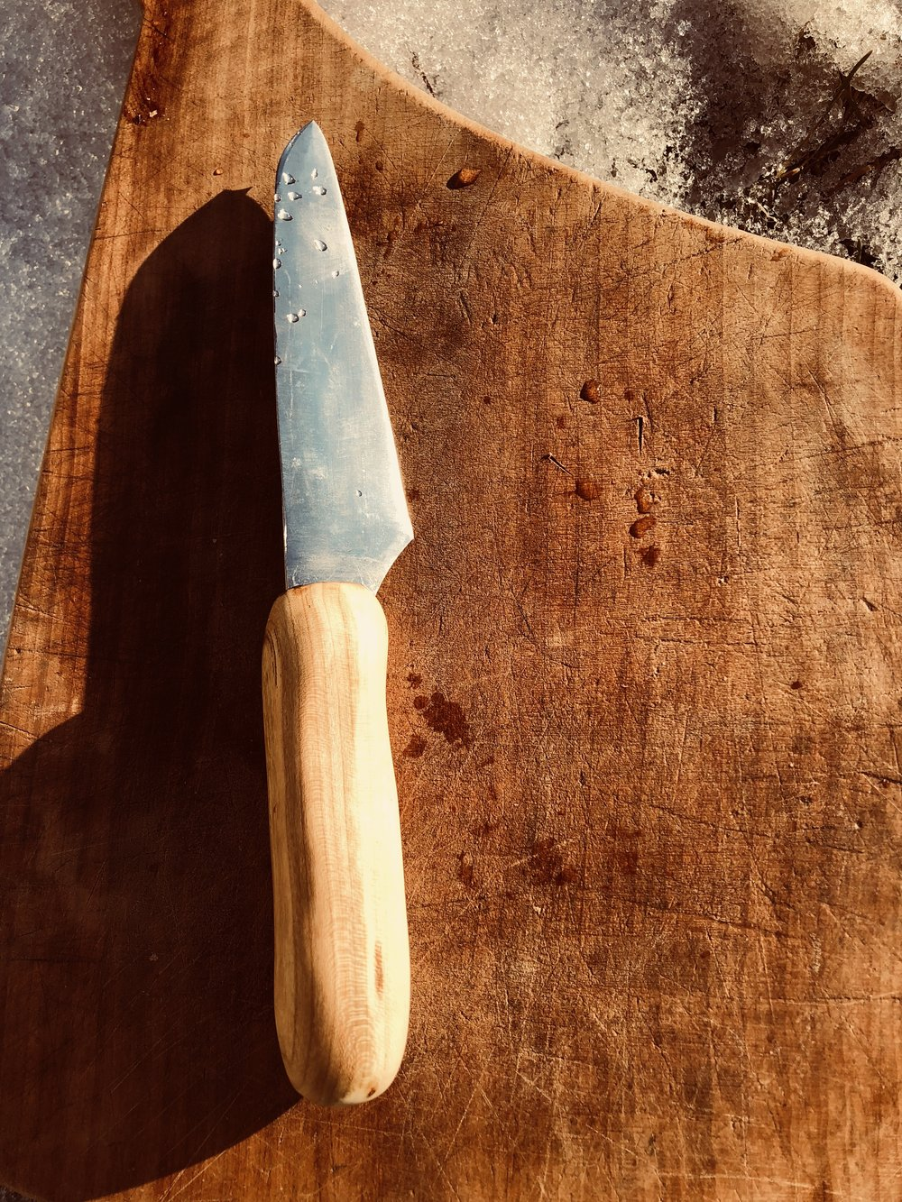 "4"" Paring knife - Cherry wood handle, high carbon steel."