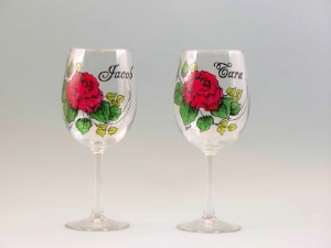 cabbage rose wine glasses