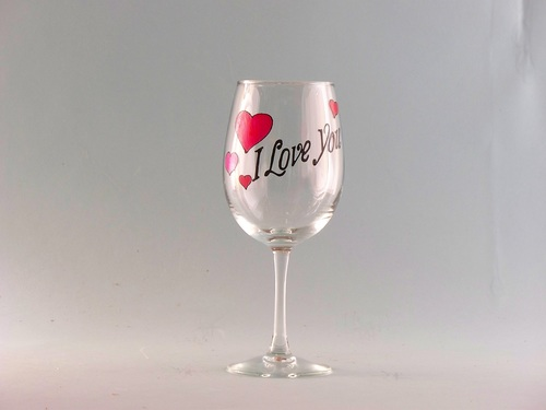 valentines day wine glass i love you