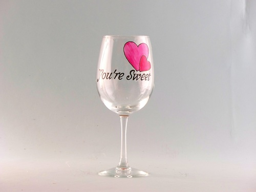 Valentine S Day Wine Glass You Re Sweet Karen S Glass Design