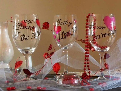 Valentine S Day Wine Glass I Love You Karen S Glass Design