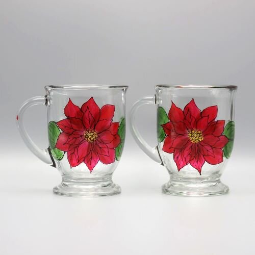 Poinsettia Coffee Mugs Set Of Two Hand Painted Personalized Gifts