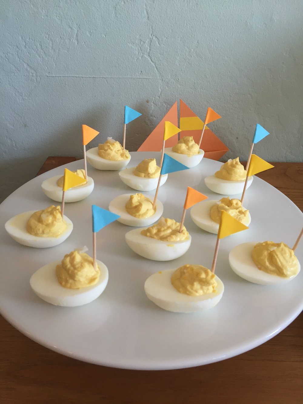 Deviled egg sailboats