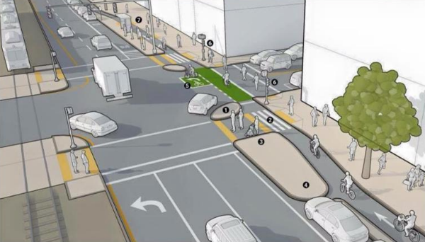 Protected Intersection Concept on Commonwealth Avenue in Boston, MA