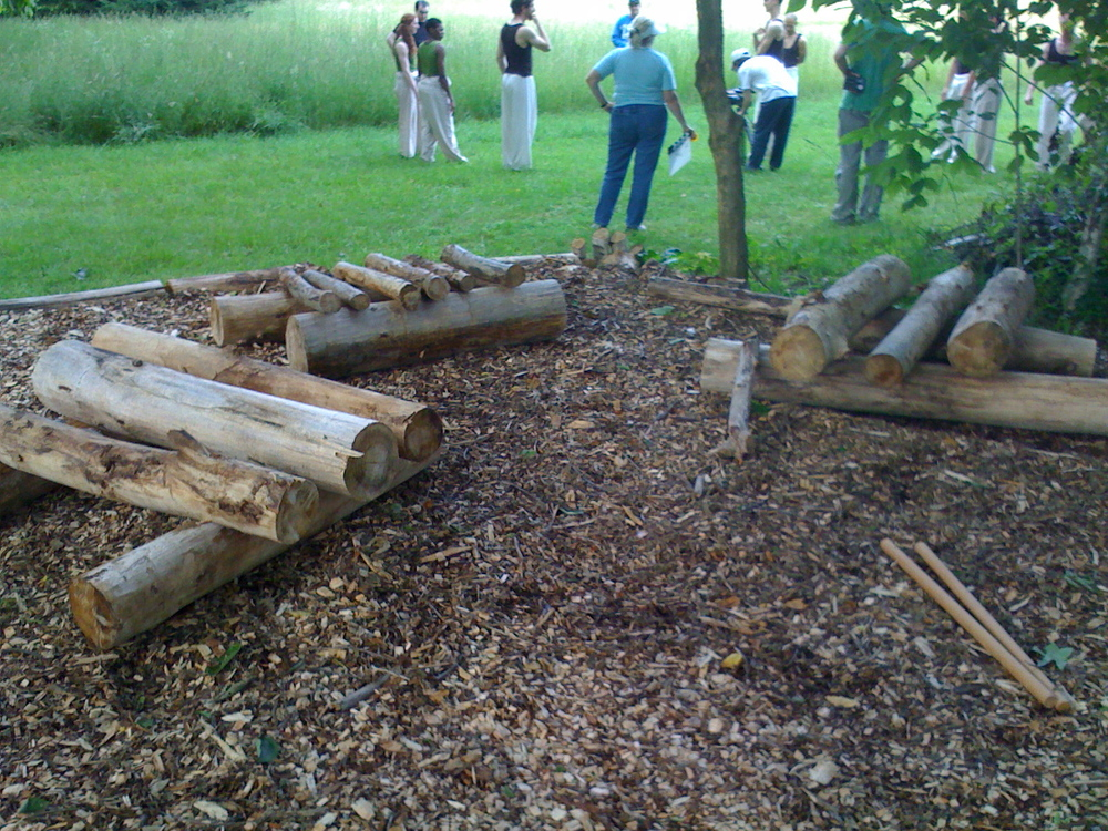 Log xylophones for Grain of Sand film shoot, Ravenna, OH