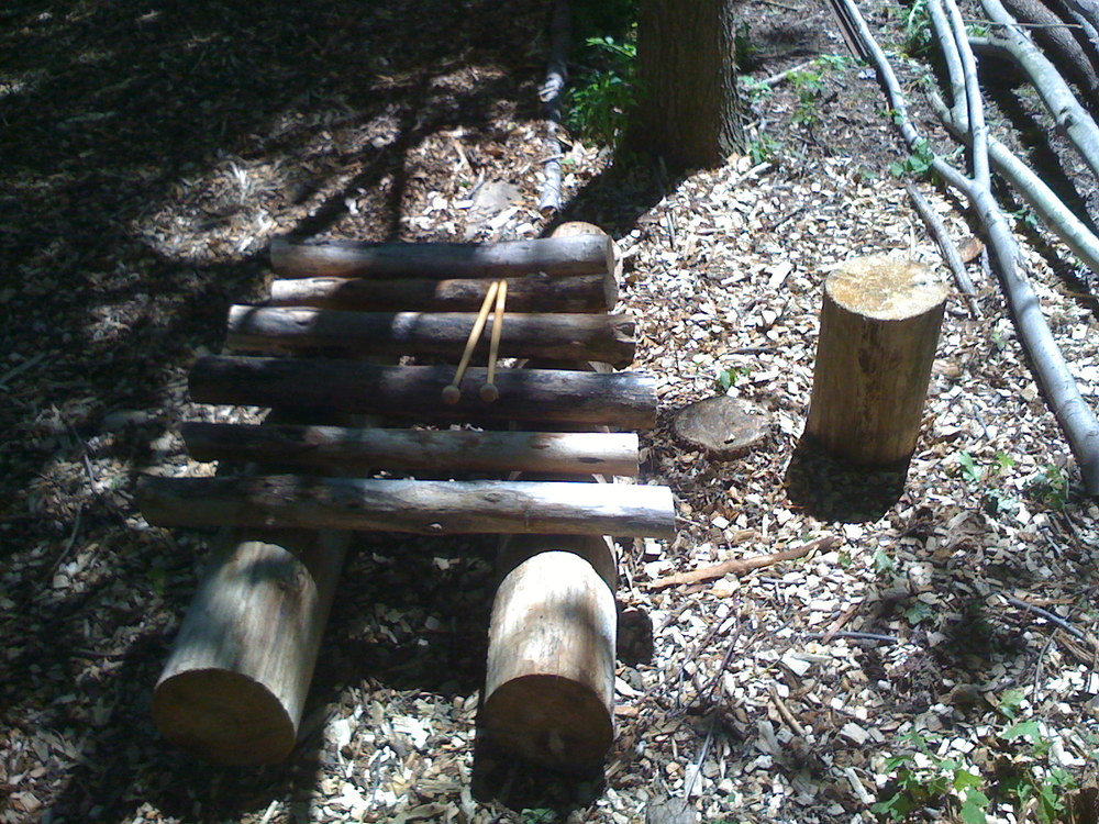 Log xylophones (II) for Grain of Sand film shoot, Ravenna, OH