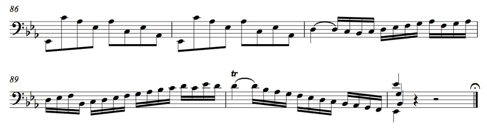 BWV 1010, Prelude m. 86-end (click to enlarge)