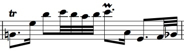 BWV 1011, Allemande m. 31, with a trill on beat 1 and a (suggested) mordent on beat 3