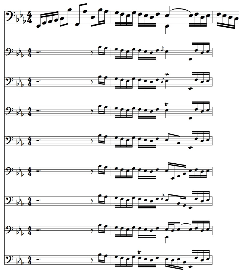 BWV 1010, Allemande mm. 5-6, brainstorming free ornamentation options for m. 6 authentic cadence