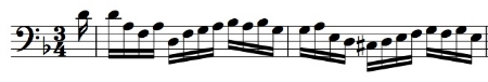 BWV 1008, Corrente mm. 1-2 with free onamentation added