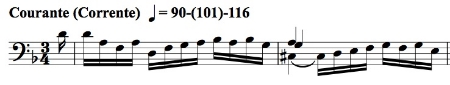 BWV 1008, Corrente mm. 1-2