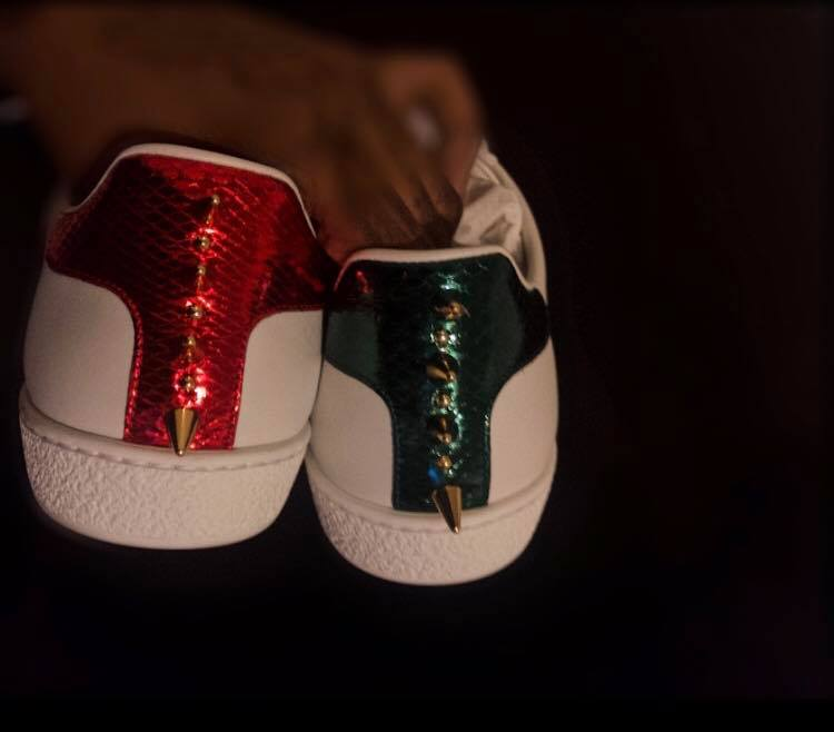 f73a1316e8c20 Gucci Ace Studded Leather Sneaker — Mack-Style