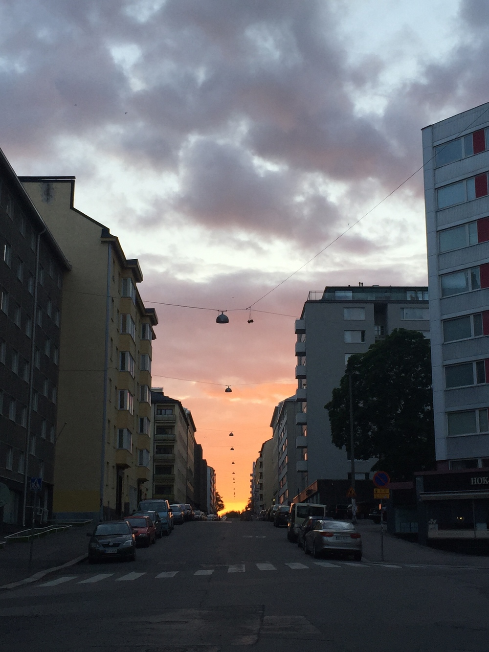 10:15 Sunset over streets of Kallio. / 10 July 2015