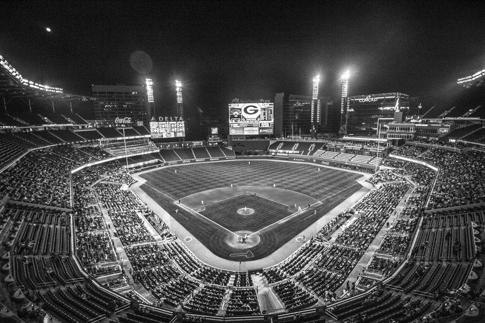 A wide angle aerial view of the Bulldogs' game against Georgia Tech at SunTrust Park in Atlanta, Ga. on Tuesday, May 9, 2017. (Photo by John Paul Van Wert)