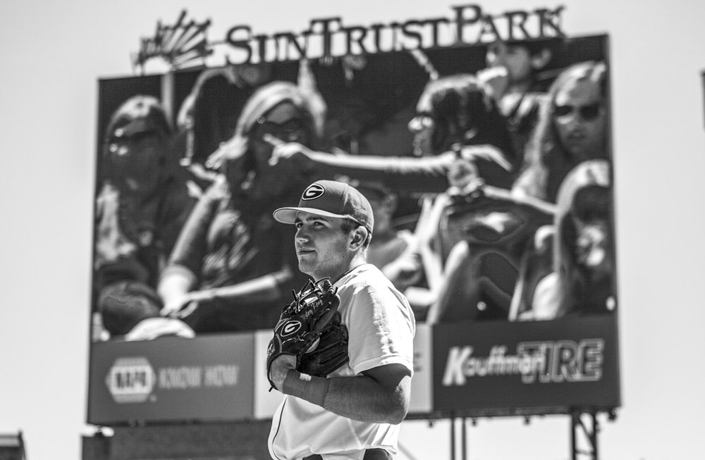 A University of Georgia player patiently waits for the first pitch during the Bulldogs' game against Missouri at SunTrust Park in Atlanta, Ga. on Saturday, April 8, 2017. (Photo by John Paul Van Wert)