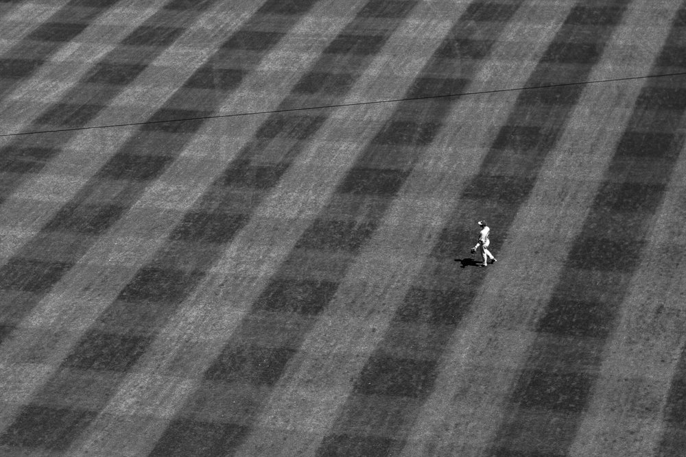 A University of Missouri player mans the outfield during the Bulldogs' game against Missouri at SunTrust Park in Atlanta, Ga. on Saturday, April 8, 2017. (Photo by John Paul Van Wert)