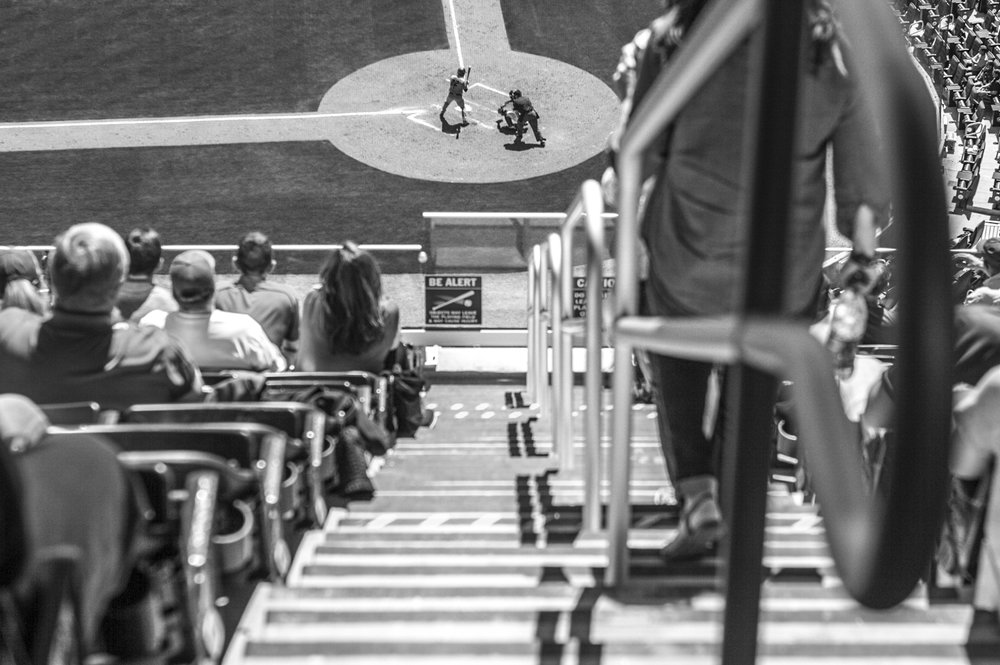 Baseball fans watch from the second level terrace during the Bulldogs' game against Missouri at SunTrust Park in Atlanta, Ga. on Saturday, April 8, 2017. (Photo by John Paul Van Wert)