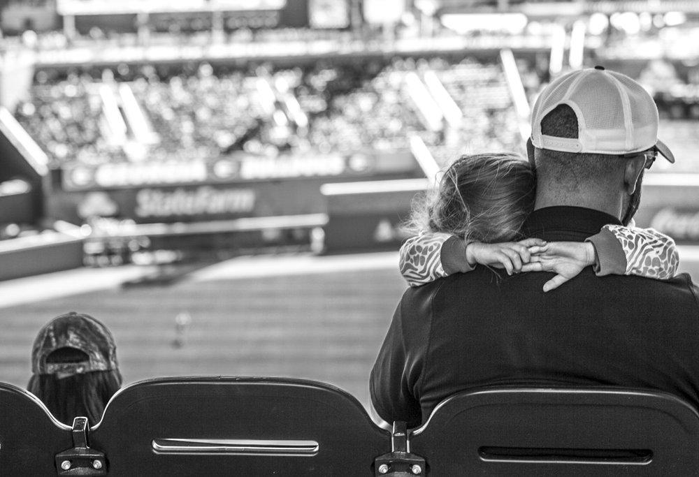Baseball fans during the Bulldogs' game against Missouri at SunTrust Park in Atlanta, Ga. on Saturday, April 8, 2017. (Photo by John Paul Van Wert)