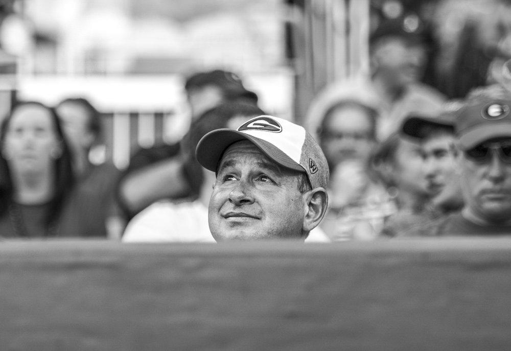 A Georgia baseball fan during the Bulldogs' game against Georgia Tech at SunTrust Park in Atlanta, Ga. on Tuesday, May 9, 2017. (Photo by John Paul Van Wert)