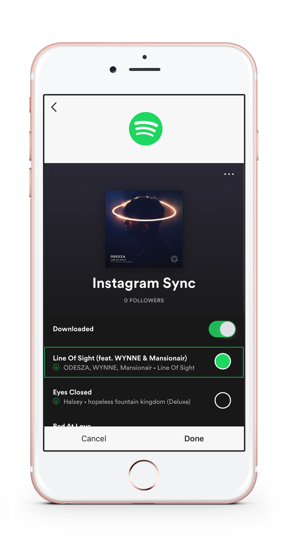 Spotify Song Selection in Instagram App