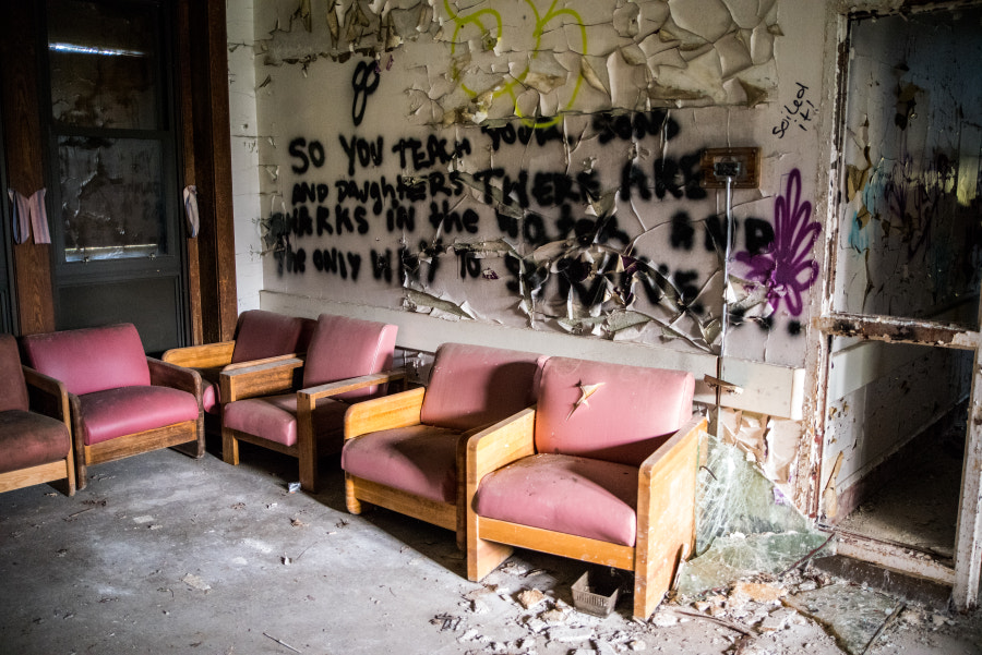 Abandoned waiting room.