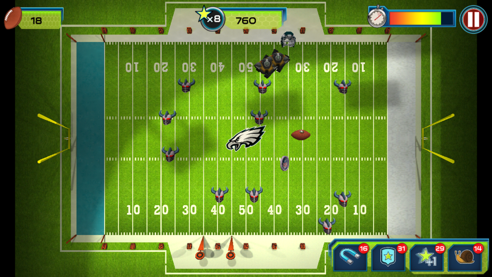 1. Player collects footballs to gain points. This also spawns enemies.