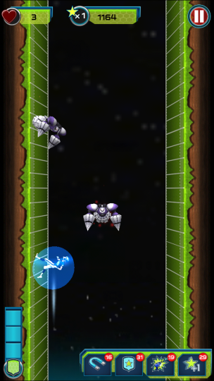 2. Jumping through enemies & projectiles who are in mid air will win the player a shield.