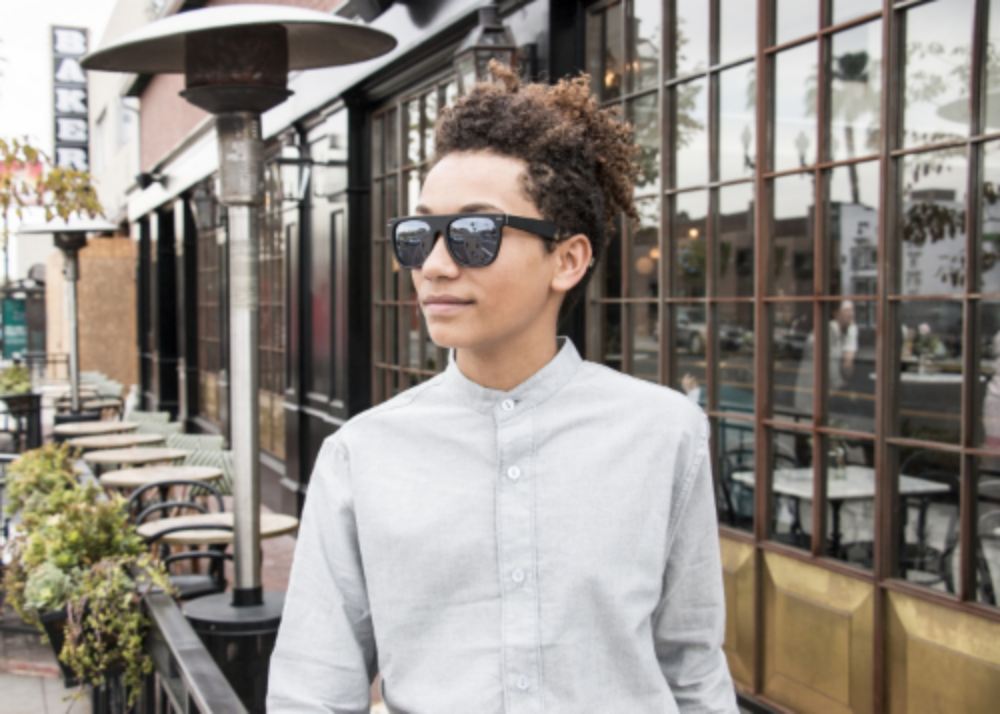 Jordan wears our Super retrofuture flat top sunglasses and Open 5/9 button up