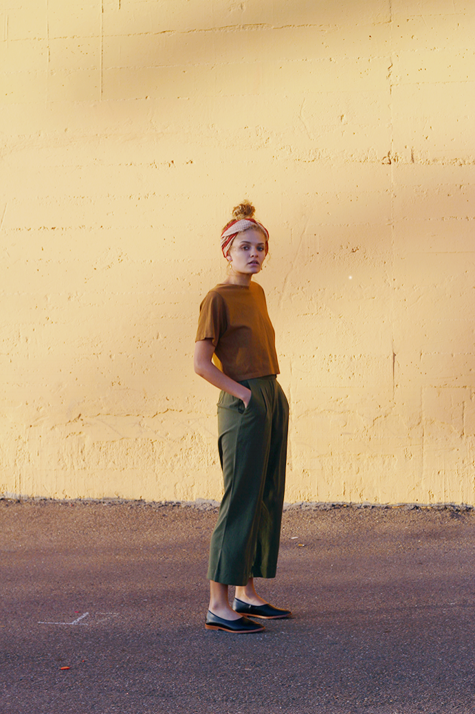 blockshop scarf ,  pansy crop top ,  ali golden trousers , and  osborn flats