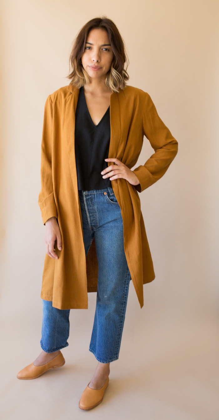 Alana wears our Ali Golden Notch Jacket, Silk V Neck Top, Vintage 501s and Osborn Studio Flats. All available at maven