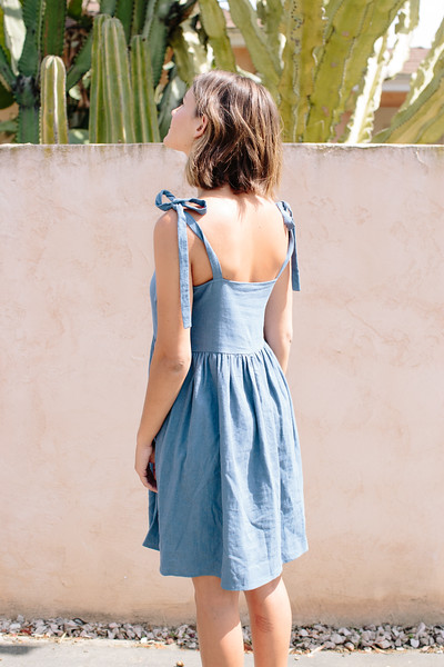 lykke wullf tie shoulder dress in indigo