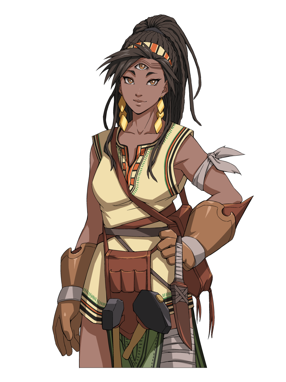 A three eyed blacksmith from a far away land. She travels to the Empire to discover new materials as well as bring back information for her people. Her mystical eye make her an extraordinary blacksmith.