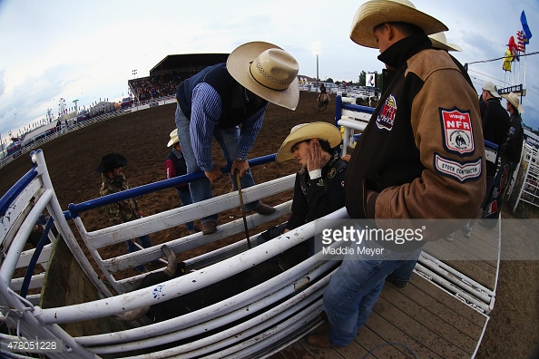 62nd Annual Wainwright Stampede. Wesley Silcox of Santa Quin, Utah, prepares for his run before the 'Battle