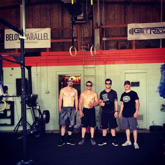 Doug Champion with PRCA Bareback Riders At The Gym (Photo Credit: Doug Champion)