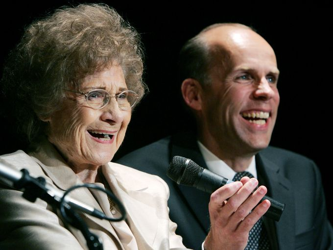 Kitty Wells, left, shares a laugh with WSM radio host Eddie Stubbs during her 90th birthday celebration at the Texas Troubadour Theatre in Nashville Aug. 30, 2009.(Photo: Sanford Myers / The Tennessean)