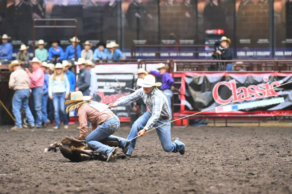 Cash Cattoor and Courtney Halverson from team Utah use true team work in the Ribbon Roping and finished with a time of 8.01. Jennings Photogra