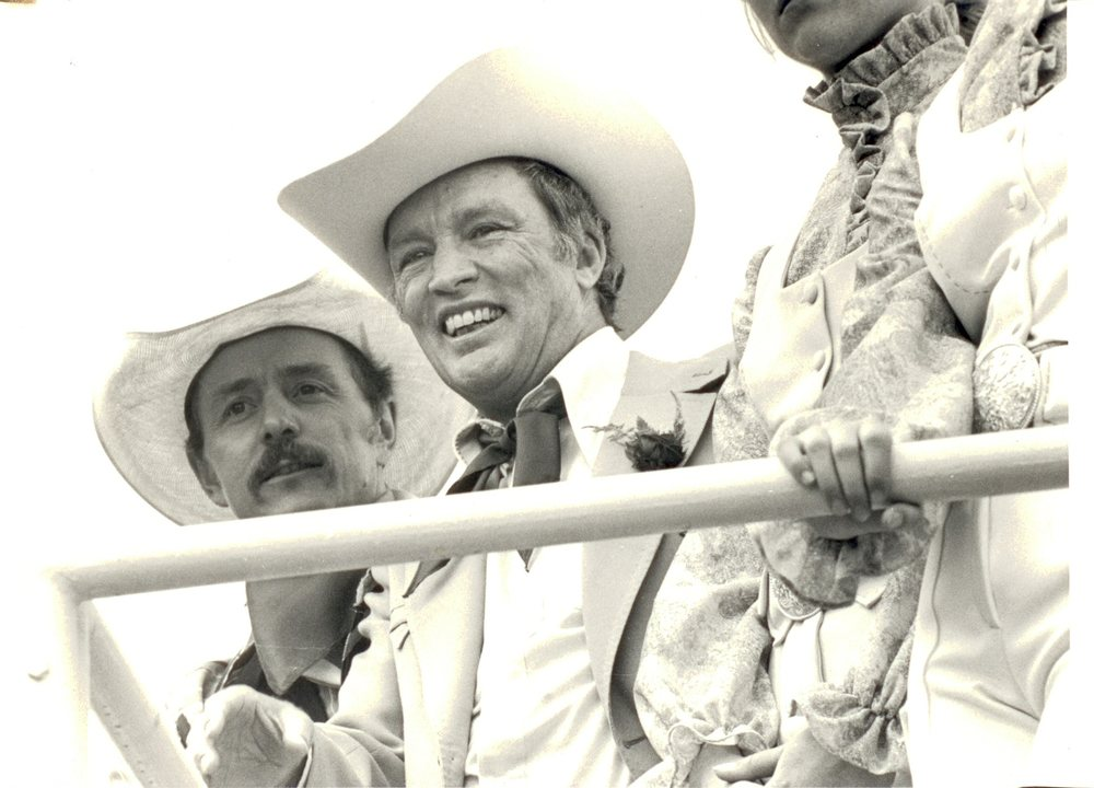 Prime Minister  Pierre Trudeau takes in the Calgary Stampede Rodeo, July 1978