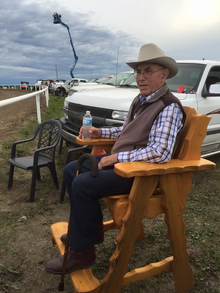 Grandpa Ray Croteau Sr, watches the races in style!