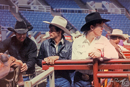 Cody Lambert, Lane Frost and Tuff Hedeman in 1986. Photo by Sue Rosoff's Rodeo Photographs.