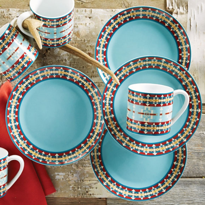 These Turquoise Hacienda plates have a fun print and would be perfect in a cozy cabin or rustic home. Purchase the set from Lone Star Western Decor >