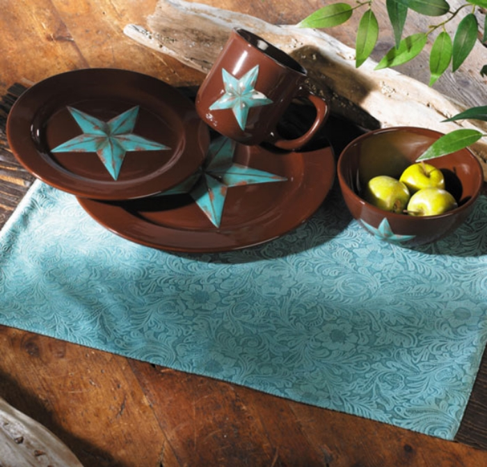 The Turquoise Star Dinnerware is versatile and a great western set for any home. Purchase the set at Black Forest Decor >