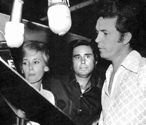 Billy Sherrill in the studio with Tammy Wynette & George Jones